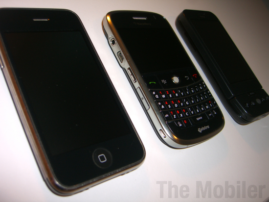 iPhone 3G vs BlackBerry Bold vs HTC Dream