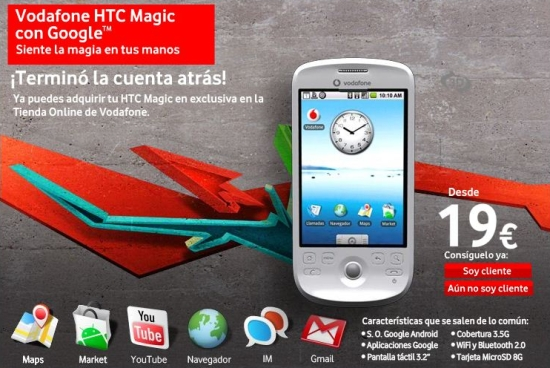 HTC Magic available at Vodafone Spain
