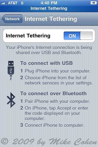 iPhone OS 3.0 tethering on AT&T