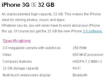 iPhone 3G S specs translation