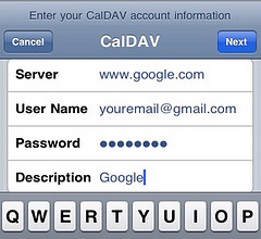 CalDAV settings