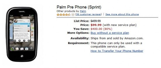 Palm Pre on Amazon